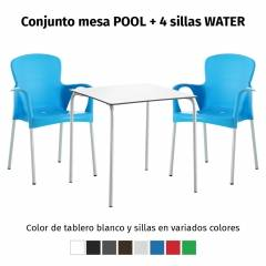Conjunto mesa POOL y 4 sillas WATER